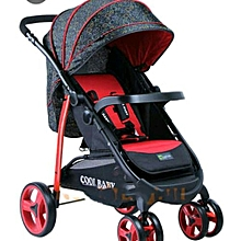 Deluxe Baby Stroller/Foldable Pram Portable Baby Stroller With Universal Casters - Red