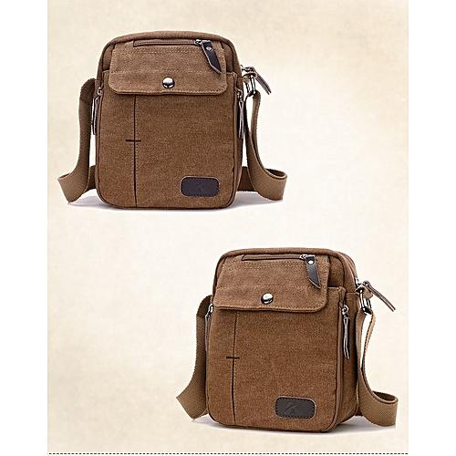 dba1a6fcd5 MUYI Men s Vintage Canvas Leather Satchel School Military Shoulder Bag  Messenger Bag