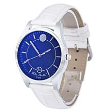 Man Quartz Dial Leather Analog Wrist Watch Round Case Watch White
