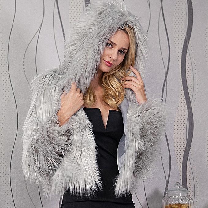 0a9d95509 Hiamok Womens Ladies Warm Faux Fur Coat Jacket Winter Solid Hooded Parka  Outerwear