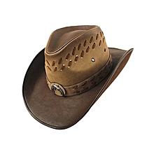 3dc24c9b Unisex Leather Cowboy Hats Men Women Vintage Visor Hat