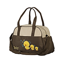 Big Polka Dot Baby Bag With Changing Mat - Brown .
