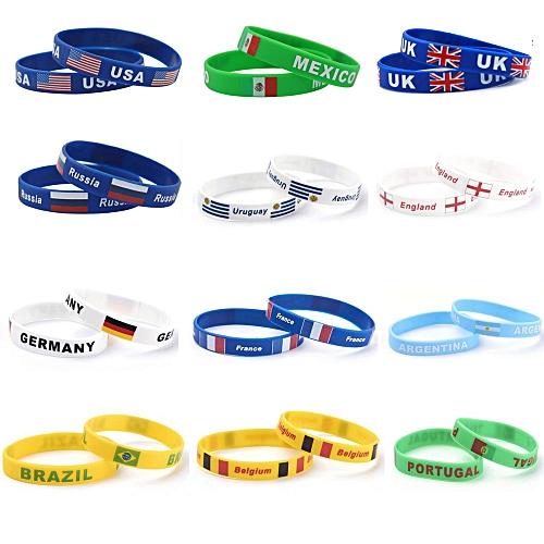 Silicone Country World Flag Logo Sport Football Fans Elastic Wrist Band  Souvenir Gift dropshipping(Switzerland)