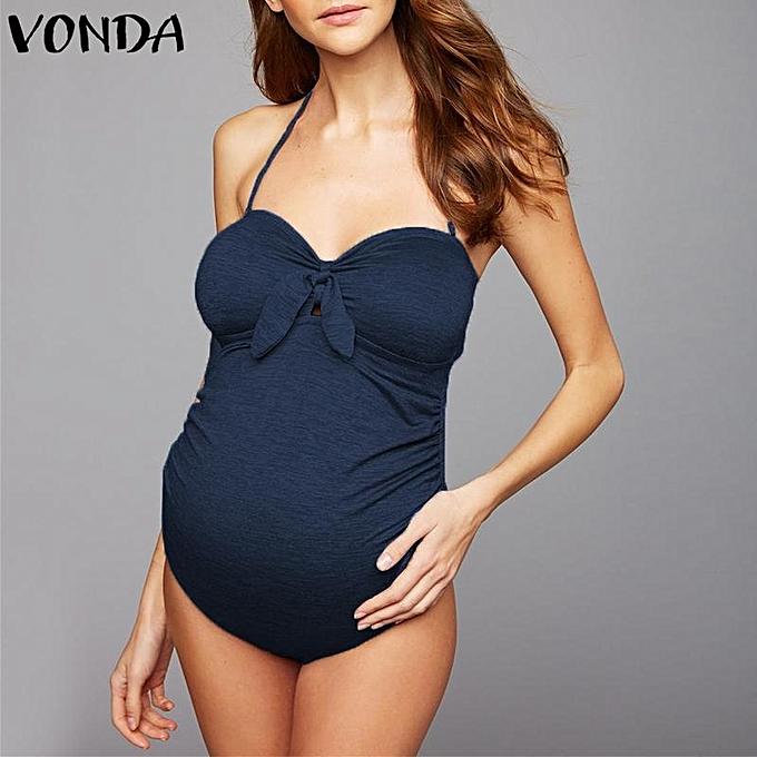 75624eb185 VONDA Maternity Pregnant Women Halterneck Swimwear Swimming Costumes Bikini  Swimsuit