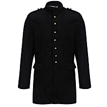 Men's Slim Fit Coat With Button Design - Black