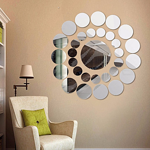 Neworldline 31x Round Mirror Wall Sticker Acrylic Surface Decal Home