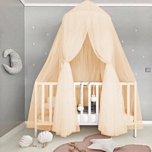 Baby Kids Round Dome Bed Canopy Mosquito Netting Curtain Home Bedroom Decoration(Beige)
