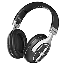 Active Noise Cancelling Bluetooth Headphones with Microphone and 3.5mm Audio Jack for iPhone, Android & PC-Black + Silver