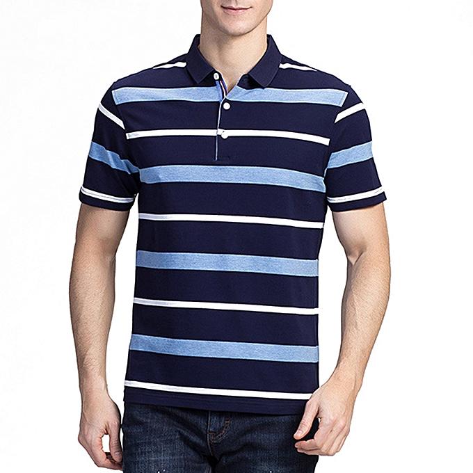 071eaf819281 Summer Men s Comfort Cotton Golf Shirt Fashion Striped Turn-down Collar Short  Sleeved Tops