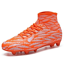 Men's Youth High Ankle Soccer Cleats High Top Turf Soccer Shoes Football Cleats Football Shoes Indoor Boys Football Boots Sneakers Spikes - Orange