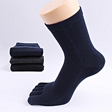 Mens Solid Color Cotton Casual Summer Breathable Deodorant Middle Tube Five Toes Socks