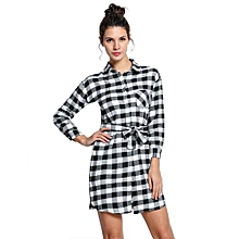 Fashion  Lady Long Sleeve Plaid Check Straight Tunic Casual Blouse Shirt Dress With Belt-Black