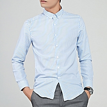 Stripe Long Sleeve Shirts For Men Formal Shirts (Sky Blue)