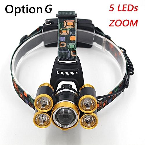 hight power light 5 led headlamp headlight 12000 Lumen cree xml t6 on