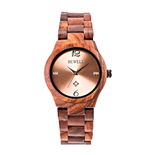 BEWELL ZS-W153A Women Wood Watch Round Quartz Movement Vintage Casual Analog Wrist Watch