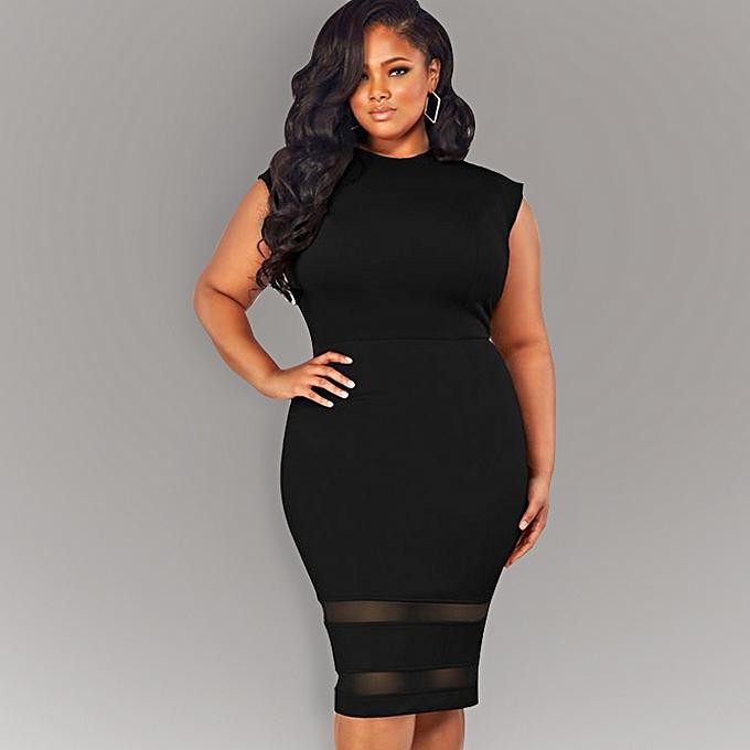 e5cb254f3444 Sexy Women Plus Size Bodycon Dress Mesh Splice Solid Color O-Neck High  Waist Slim