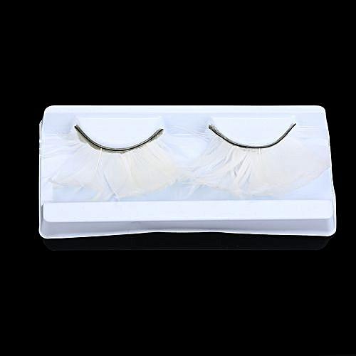 aadafaf630c Generic Women Fancy Soft Long Feather False Eyelashes Eye Lashes Makeup  Party ClubWhite