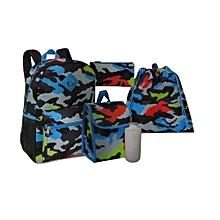 5 Piece Kids School Bag Set Medium (14 Inch Backpack,Lunch Bag,Pencil Case,Drawstring Bag,Water Bottle) - Black Blue & Grey