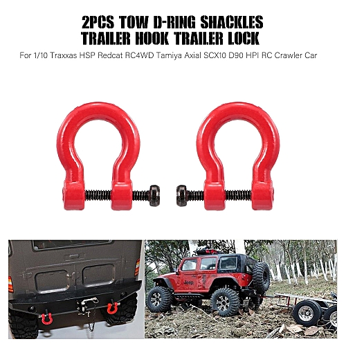 Generic 2pcs Tow D-Ring Shackles Trailer Hook Trailer Lock for 1/10 Traxxas HSP Redcat RC4WD Tamiya Axial SCX10 D90 HPI RC Crawler Car