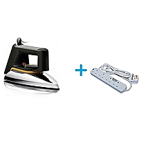 HD1172 - 1000W No.1 Dry Iron - Silver+ a Free 4-Way Socket Extension Cable