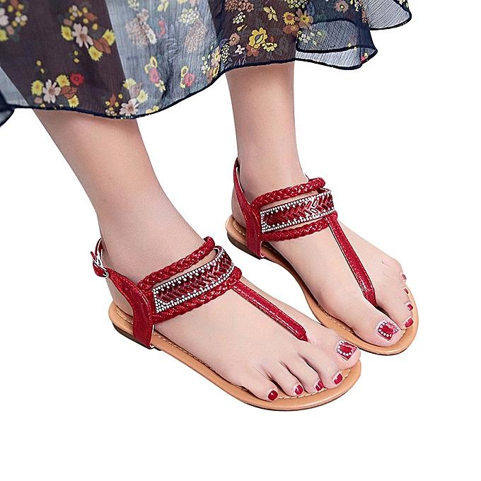 c0fa0eb4710932 Summer Pinch Casual Bohemian Diamond Sandal Women Gladiator Sandals Roman  Flats