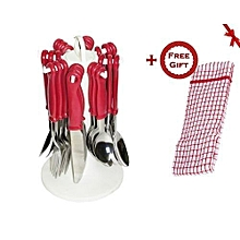 24pcs Stainless Steel Cutlery Set - Red (+ Free Gift Hand Towel)