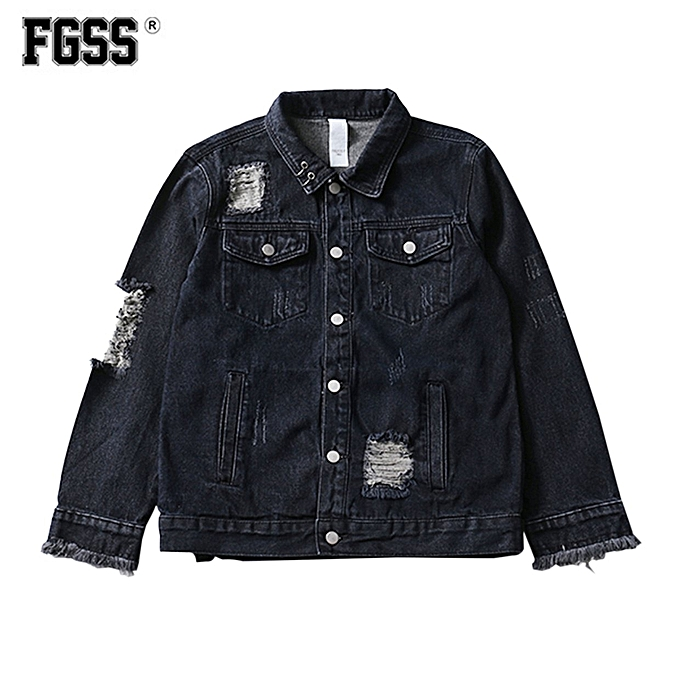 Generic Forgiveness Ripped Denim Jacket M7502 Men Casual Fashion