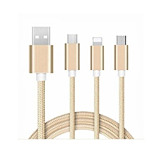 Three-In-One for Apple Android General Charging Linedata Cable Suitable for Xiaomi Huawei Apple 7 iPhone8 (rose gold)