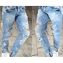 Suitable Europe And The United States Wear White Super Personality Ripped Jeans Show Thin