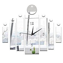 Luxury 3D Mirror Silver Wall Clock Modern Design Home Decor Watch Wall Sticker-Silver