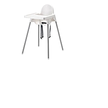 ANTILOP Highchair with Safety Belt - White/Silver