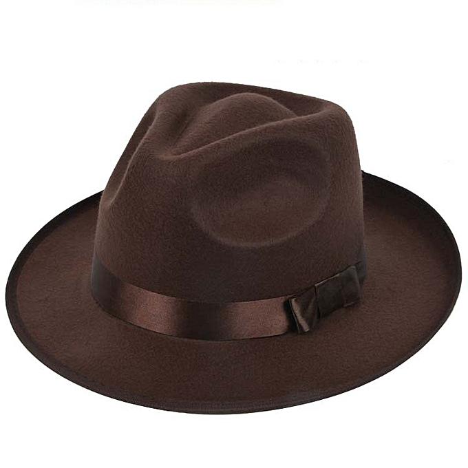 1d3c5f39783dc2 Vintage Men Women Hard Felt Hat Wide Brim Fedora Trilby Panama Hat Gangster  Cap