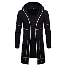 huskspo Fashion Mens Hooded Solid Trench Coat Jacket Cardigan Long Sleeve Outwear Blouse