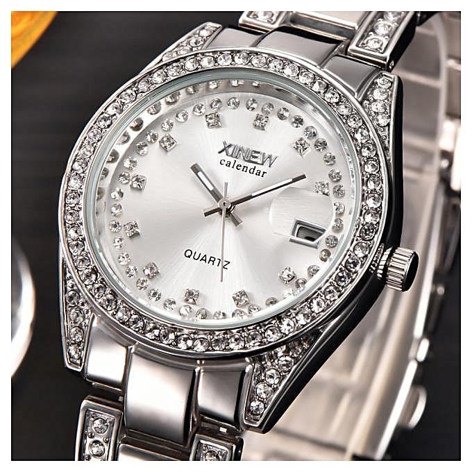 ae3a43cadc35 Hiamok Fashion XINEW Ladies Women Girl Unisex Stainless Steel Date Quartz  Wrist Watch