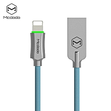 CA - 390 Knight Series 8 Pin 2.4A quick charg Auto Disconnection Data Sync Cable with Flashlight 1.8M for iPhone XS / XR / XS MAX - BLUE