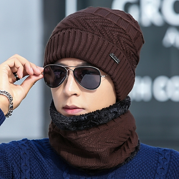 0f6a26739 1Coffee hat+round Bo two setsHat man winter knitting wool the hat thicken  Han Ban Chao knit fabric set the head hat add Rong to keep warm the hat ...