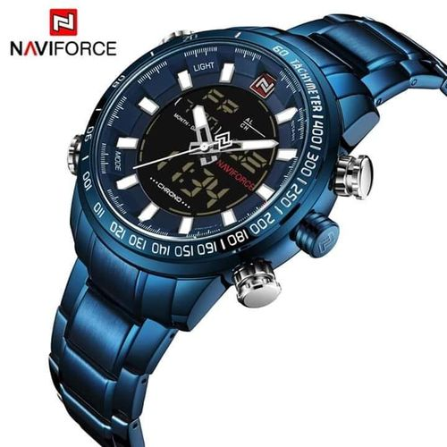 Naviforce 9093 2 in 1 digital and analogue  item shape round. Quartz movement water proof 30 meter 1 year warranty