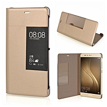 Case For Huawei P9 Plus Luxury Leather Fabric Phone Cover Smart Window View Flip Cases For Huawei P9 Plus Auto Sleep Cover Handphone Casing 580722 (Gold)