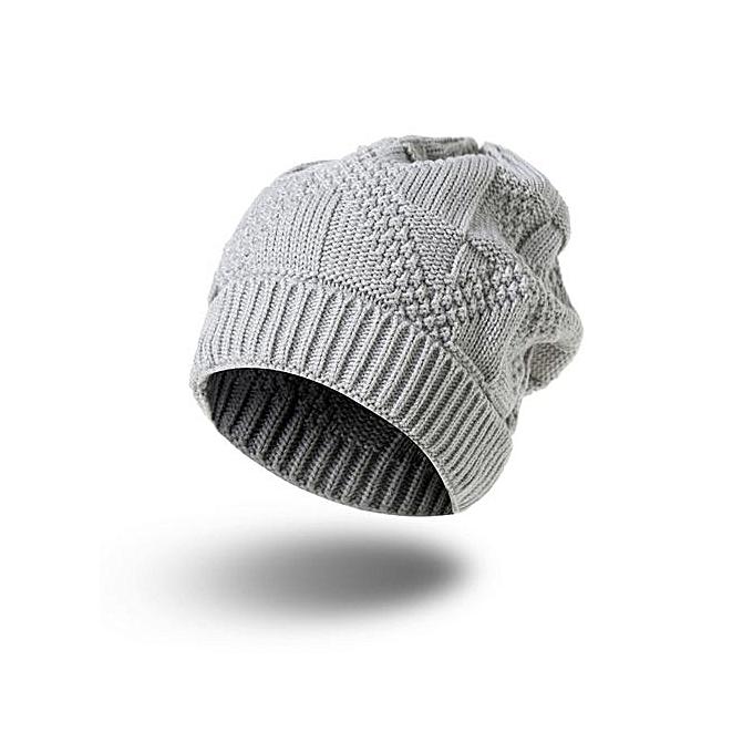936214f0569 ... Men Women Knit Baggy Beanie Oversize Winter Hat Ski Slouchy Chic Cap  Gray ...