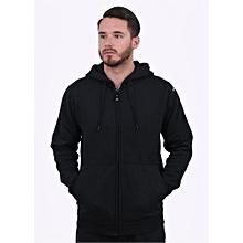 Black Zipped Plain Hoodie