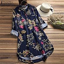 f6ae7b5551e6 ZANZEA Women Plus Size Mini Short Floral Dress Top Tee Shirt Tunic Blouse