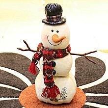 Burlap Christmas figurine snowman doll # Leather hat M