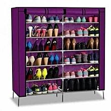 Framed Portable Shoe Rack  2 columns- Purple