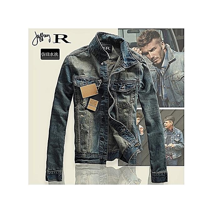 4f3ceb83bd7 Fashion Plus size Men s Coat Slim Fit Denim Jacket Classic Retro Thicken  Lapel Outerwear-blue