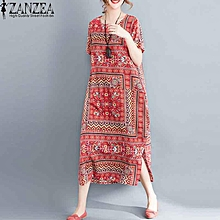 ZANZEA Women Short Sleeve T-Shirt Dress Summer Floral Print Long Shirt Dress New