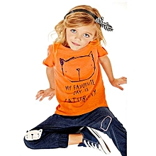 Girls Cat Printing T-Shirt+Long Pants - Orange - 90