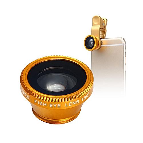 LQ - 180 Universal 180 Degree Clip-on Photo Fisheye Lens - Golden