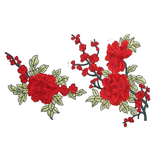 5fc27ecce4e UNIVERSAL 2Pcs Red Rose Flower Motif Collar Sew On Patch Embroidery Lace Patches  Applique
