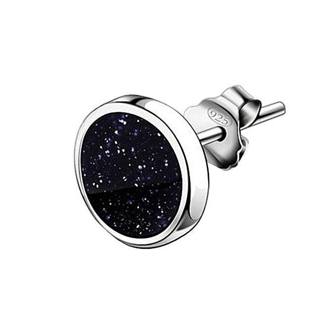 8f733f14d Eleganya Silver Men's Earrings Diamond Amethyst Stud Earrings for Men and  Women of Sand Black Round