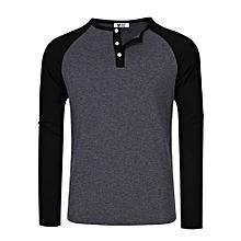 MrWonder Men's Casual Slim Fit Raglan Long Sleeve Henley T-Shirt Baseball Tee Shirts Jersey Color:Gray With Black Sleeves Size:L